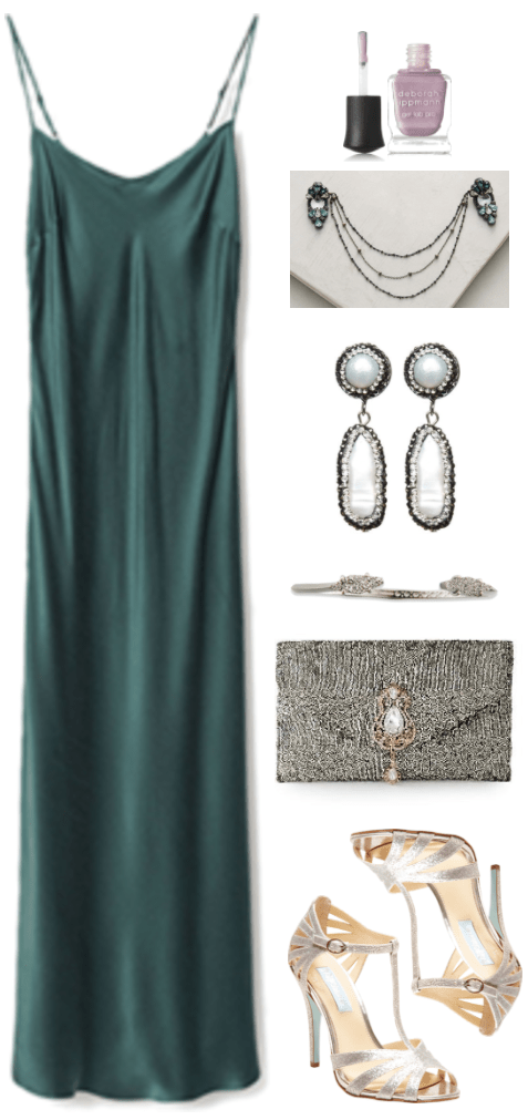 """How to Wear a Slip Dress"" Outfit #4 featuring long dark green slip dress, Deborah Lippmann nail polish in ""Message in a Bottle,"" mauve with sparkles; draped hair clip with gray chains and blue and white stones, pearl and hematite earrings, silver druzy cuff bracelet, gold-sequin-covered envelope clutch with gold embellishment with clear stones, silver sparkly caged t-strap heeled sandals"