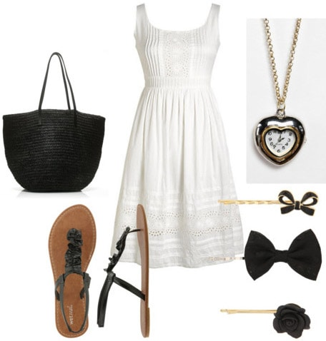White outfit: How to wear a white dress with sandals and black accessories