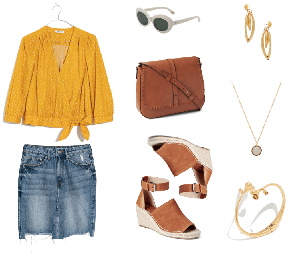 Saffron yellow three-quarter-sleeve wrap top that ties at hip and has small white star print; light-wash slightly distressed denim pencil skirt with destroyed uneven hem, white oval-shaped sunglasses with dark blue-green lenses, large cognac-brown cross-body bag with whip-stitching, cognac-brown suede and leather espadrille wedges with peep toe and buckle ankle strap, gold drop caged circle earrings, gold pendant necklace with round faceted gray-green stone surrounded by small black stones, gold hinge open wrap cuff bracelet with larger and smaller roses at either end