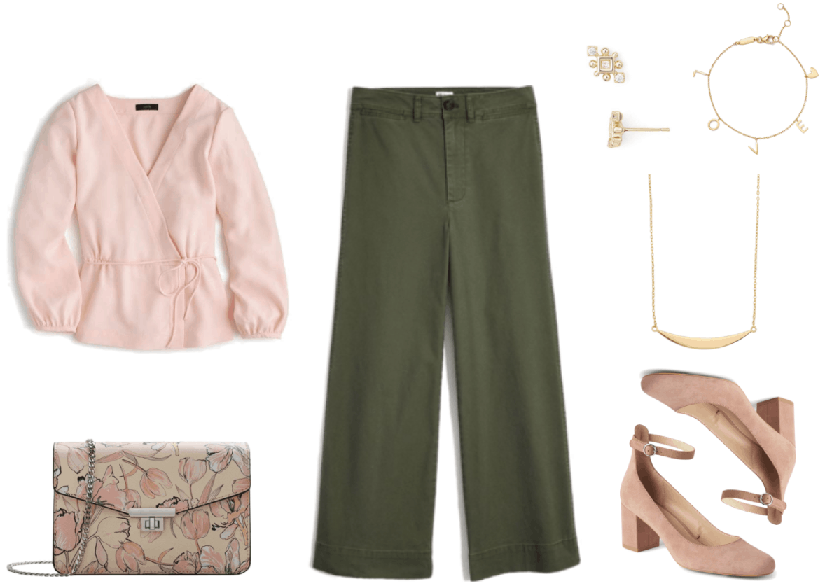 Pale pink long-sleeved drapey faux wrap top with skinny tie, beige chain-strap bag with pale pink floral print and silver hardware, olive-green cropped wide-leg pants, gold stud earrings with diamond-shaped clear stone, two round clear stones, and gold ball accents; gold bracelet with gold