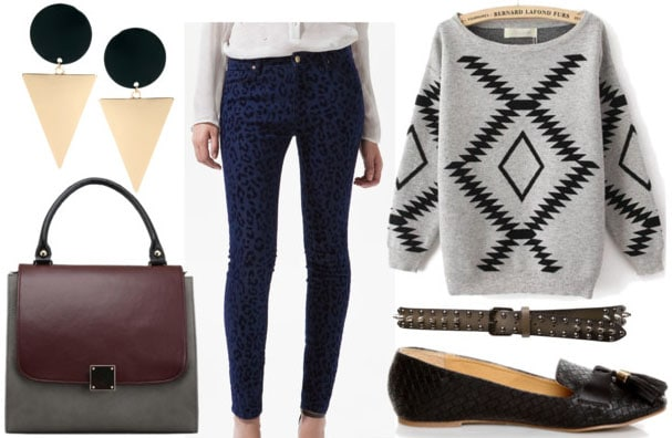 how to wear animal print jeans for class with graphic sweater black smoking slippers studded belt geometric earrings and two toned retro bag