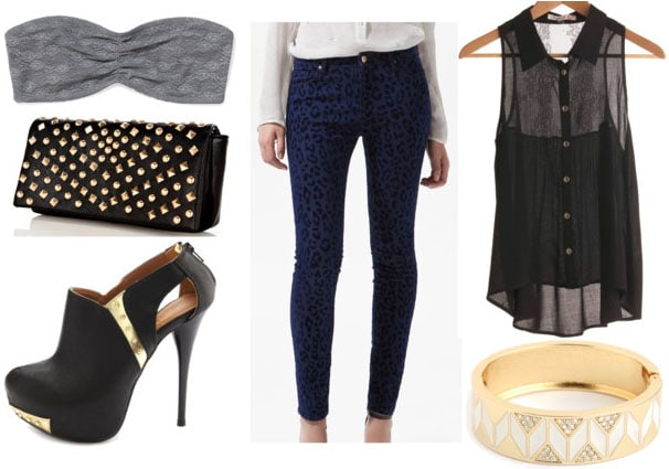 how to wear animal print jeans for night with sheer black top gray lace bandeau studded clutch black and gold ankle booties and gold bangle