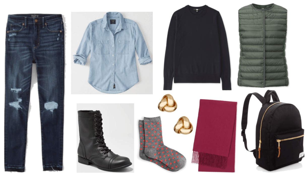 """""""How to Wear Combat Boots Without Looking Too Edgy"""" Combat boots outfit #1 featuring high-rise dark-wash ripped jeans with let-out hem, light-wash denim shirt with chest pockets, navy blue crewneck sweater, olive green lightweight down vest, black combat boots, gray socks with orange polka dots, gold knot stud earrings, wine-red scarf with tassels, black backpack with gold zippers and cognac-brown zipper pulls"""