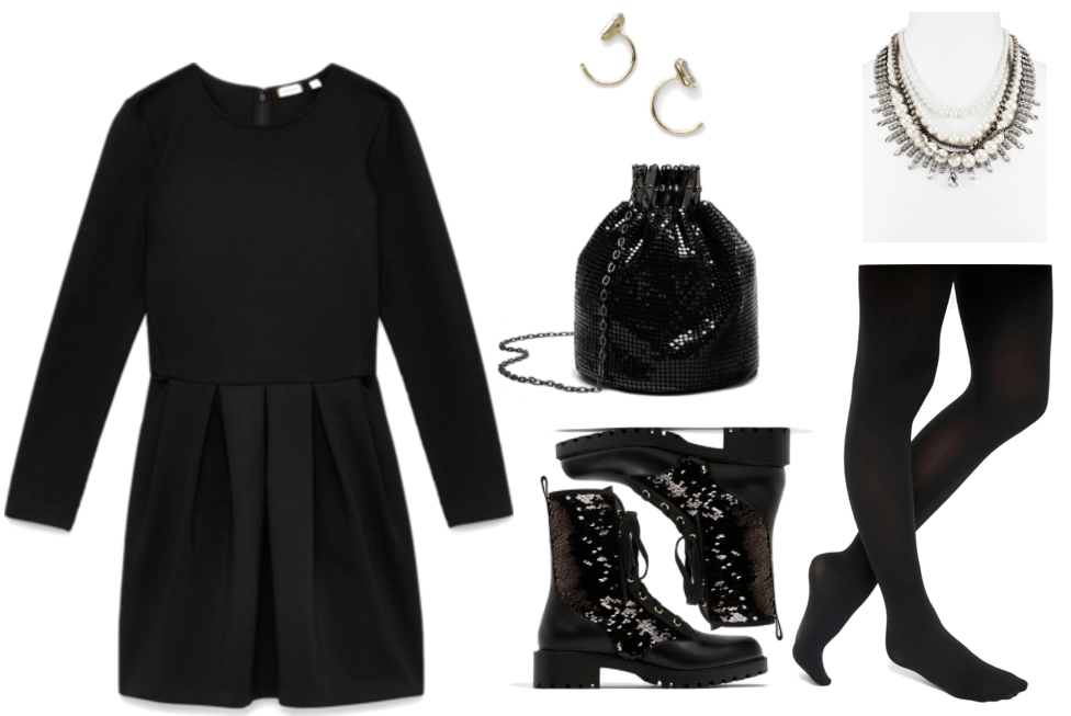 """""""How to Wear Combat Boots Without Looking Too Edgy"""" Combat boots outfit #4 featuring long-sleeved fit-and-flare black dress with pleated skirt, gold on-the-ear hoop earrings with rectangular clear stones, shiny black mesh metal mini bucket bag with gunmetal chain-strap, black combat boots with black-and-gold reversible sequins, statement necklace with faux pearls, gunmetal chains, and clear stones set in silver; black opaque tights"""