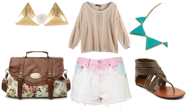 how to wear dip dye shorts for day with crochet beige sweater floral satchel gladiator sandals turquoise spike necklace and gold triangle earrings