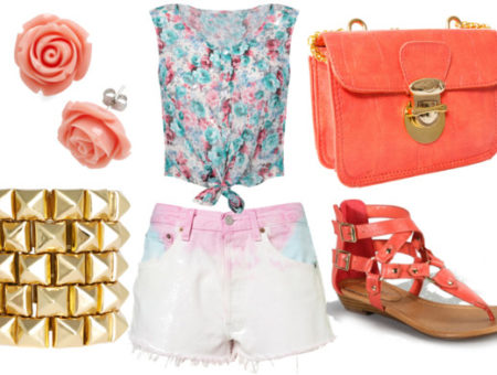 how to wear dip dye shorts for night with floral crop tank coral sandals coral cross body bag gold spike bangles and rose earrings