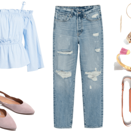 Pale-blue-and-white striped off-the-shoulder long-sleeved blouse with shoulder ties, wide sleeves, ruffle detail at top, and cinched waist; pale lilac sling-back suede flats with pointed toe, high-waisted, ankle-length, straight-leg destroyed jeans in light blue wash; large thin gold twisted hoop earrings; thick gold ring with three starbursts with clear stone at center, gold hinged open cuff bracelet with half-circle and pink fringe on either side, rosy cognac brown faux-leather mini fanny pack with brass ring with fringe and brass hardware