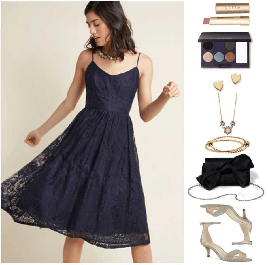 """""""How to Wear Kitten Heels--Without Looking Frumpy of Juvenile"""" Outfit #2 featuring navy blue lace spaghetti-strap fit-and-flare midi dress, stila color balm lipstick in """"Misty,"""" a pale pink shade; Laura Mercier Intense Clays Editorial Eye Palette, gold heart stud earrings, gold and black rhodium necklace with small clear stones surrounding ivory mother-of-pearl, gold twisted, knotted bangle bracelet attached to gold smooth bangle bracelet, black bow clutch with silver chain strap, pale gold kitten heel sandals with ankle strap"""