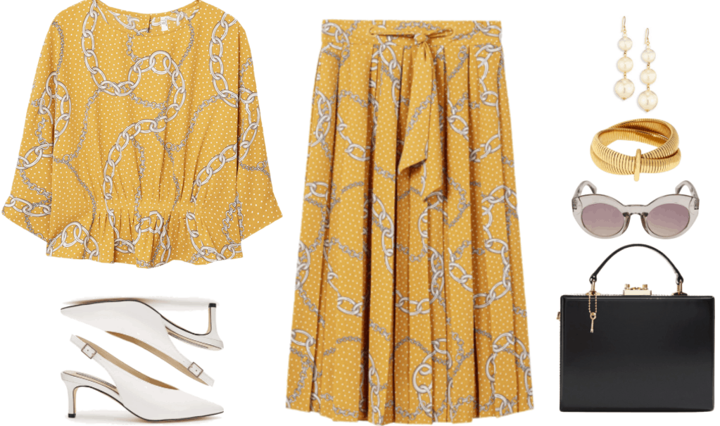 """""""How to Wear Kitten Heels--Without Looking Frumpy of Juvenile"""" Outfit #4 featuring mustard-yellow polka-dot and chain-print three-quarter-sleeved blouse with shirring at the waist, white embossed high-cut slingback kitten heels with silver buckle, mustard-yellow polka-dot and chain-print midi skirt with tie at waist, gold triple-pearl drop earrings, gold double crossover bracelet linked together by gold band, light-gray transparent plastic sunglasses with pale mauve-ish lenses, black box bag with top-handle, gold hardware, and gold key attached with gold chain"""