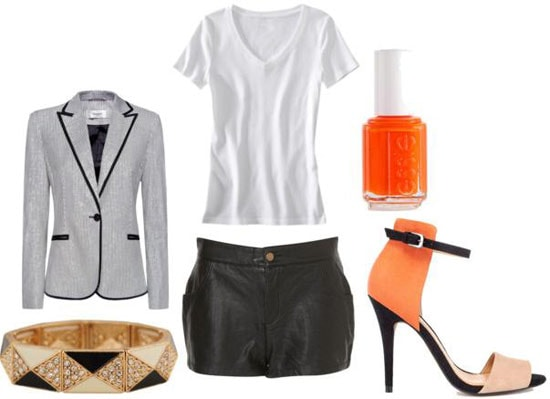 How to wear leather shorts with a white tee shirt, gray blazer, and neon orange heels