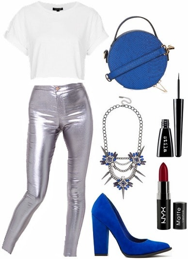 How to wear metallic pants for a night out