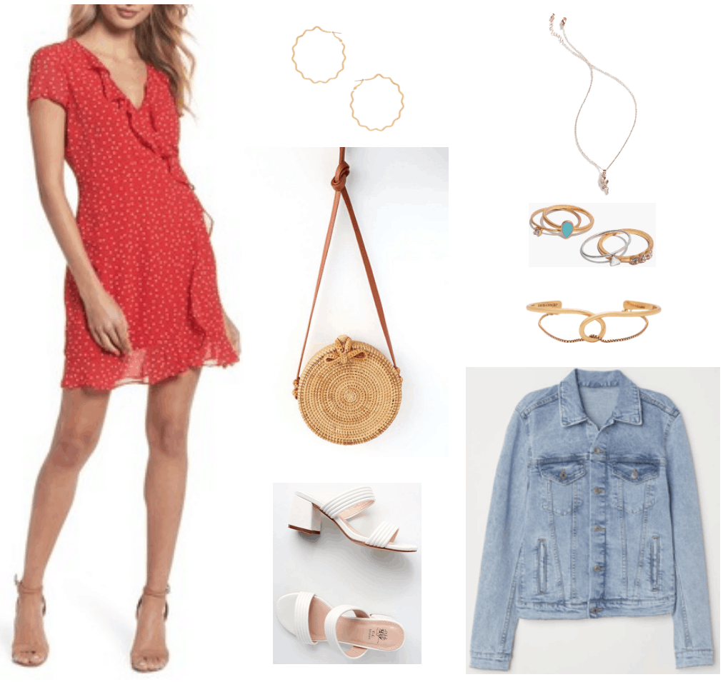 Red ruffled faux-wrap short-sleeved dress with small white polka dots, medium-sized gold zig-zag hoop earrings, tan round woven rattan cross-body bag with cognac-brown leather shoulder strap, white chunky-heeled double-strap mule sandals, gold necklace with rose pendant, set of four rings that includes gold ring with turquoise enamel, gold ring with clear stone, gold ring with three clear stones, and silver ring with triangle, gold loop cuff bracelet with chain going through, light-wash denim jacket