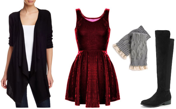 How to wear a party dress casually with over the knee boots, boot cuffs, and a cardigan