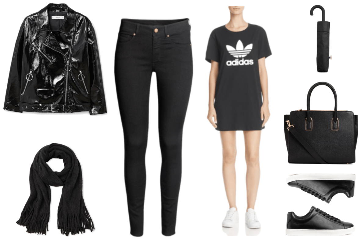 """""""How to Wear the Patent Trend This Season"""" Outfit #2 featuring black patent motorcycle jacket with silver hardware and zippers with ring pulls, black scarf with fringe, black skinny jeans, black adidas short-sleeved t-shirt dress with white adidas trefoil logo and name, black umbrella in matching case, black top-handle bag with cross-body strap and gold hardware, black faux leather sneakers with shiny faux leather detail at back and white soles"""