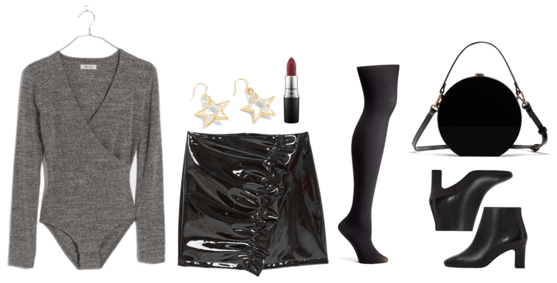 """""""How to Wear the Patent Trend This Season"""" Outfit #3 featuring long-sleeved heathered medium-dark gray wrap-front bodysuit, clear star drop earrings set in gold, MAC Matte Lipstick in """"Studded Kiss,"""" a burgundy shade; black patent skirt with draped diagonal ruffle, black opaque tights, black hard hatbox-style bag with cross-body strap and gold hardware, black heeled ankle boots"""