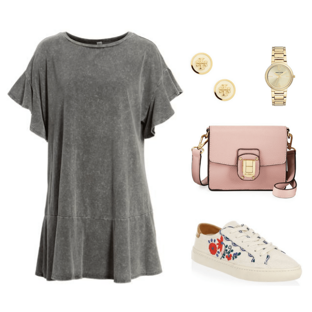 Embroidered sneakers outfit: Gray ruffle tee shirt dress, pink mini bag, gold watch, gold earrings