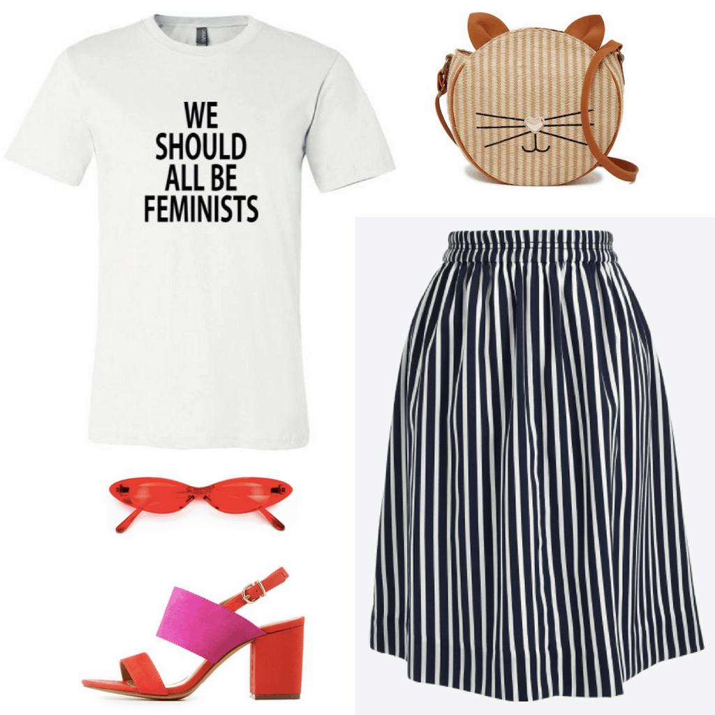 How to wear stripes this spring: Outfit with black and white striped midi skirt, red heels, cat bag, We Should All Be Feminists tee, sunglasses