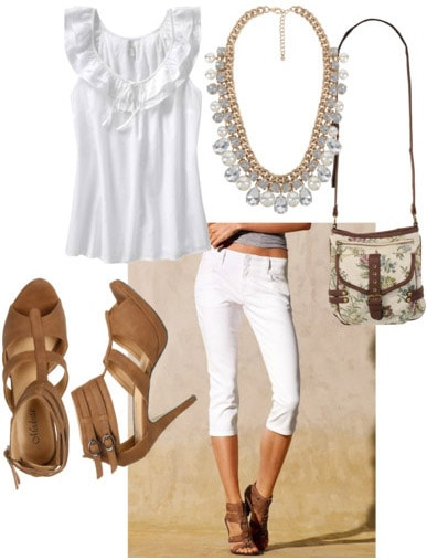All white outfit: How to wear white capris with a white top