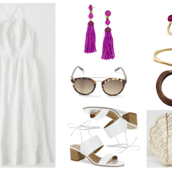 """How to Wear White Shoes (That Aren't Sneakers)"" Outfit #1 featuring white square-neck midi dress, magenta beaded tassel earrings, plastic brown tortoise shell sunglasses with gold metal brow bar, white tie-up sandals with chunky heel, open gold ring with magenta and white druzy stones, hexagonal gold bangle bracelet, brown wooden bangle bracelet, off-white straw seashell-shaped clutch with silver chain strap"