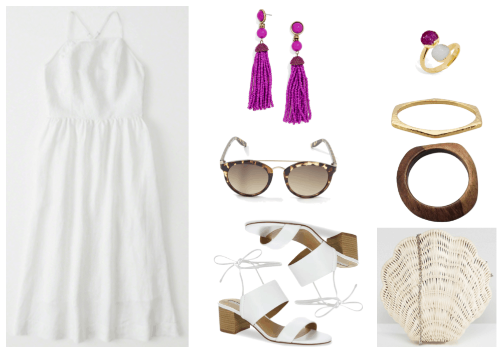 """""""How to Wear White Shoes (That Aren't Sneakers)"""" Outfit #1 featuring white square-neck midi dress, magenta beaded tassel earrings, plastic brown tortoise shell sunglasses with gold metal brow bar, white tie-up sandals with chunky heel, open gold ring with magenta and white druzy stones, hexagonal gold bangle bracelet, brown wooden bangle bracelet, off-white straw seashell-shaped clutch with silver chain strap"""
