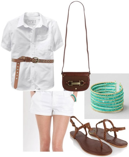 All white outfit: How to wear white shorts with a white top and sandals