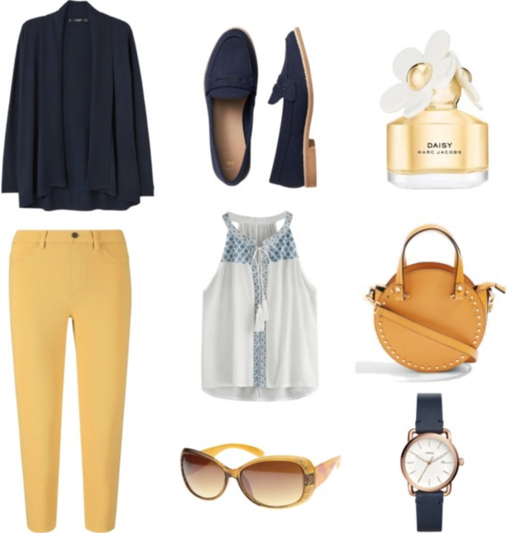 How to wear yellow: Outfit with yellow pants, navy blue cardigan, light blue patterned tank, navy blue loafers, mustard yellow circle bag, navy blue watch, gold sunglasses