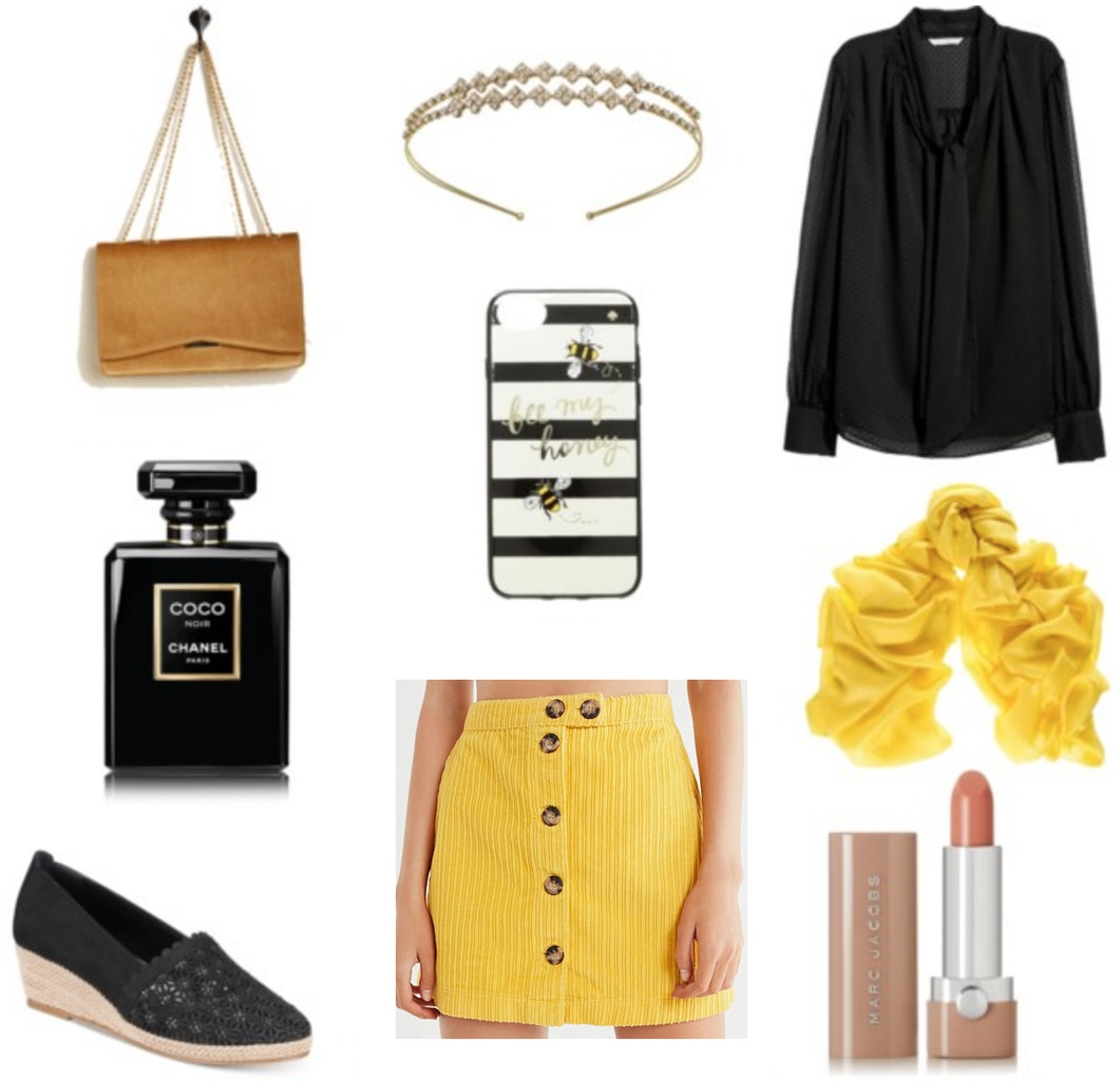 How to wear yellow - outfit 2 with mustard yellow button front mini skirt, navy blue blouse, yellow scarf, navy blue espadrille wedges, stripe phone case, jeweled headband, camel chain strap purse, nude lipstick