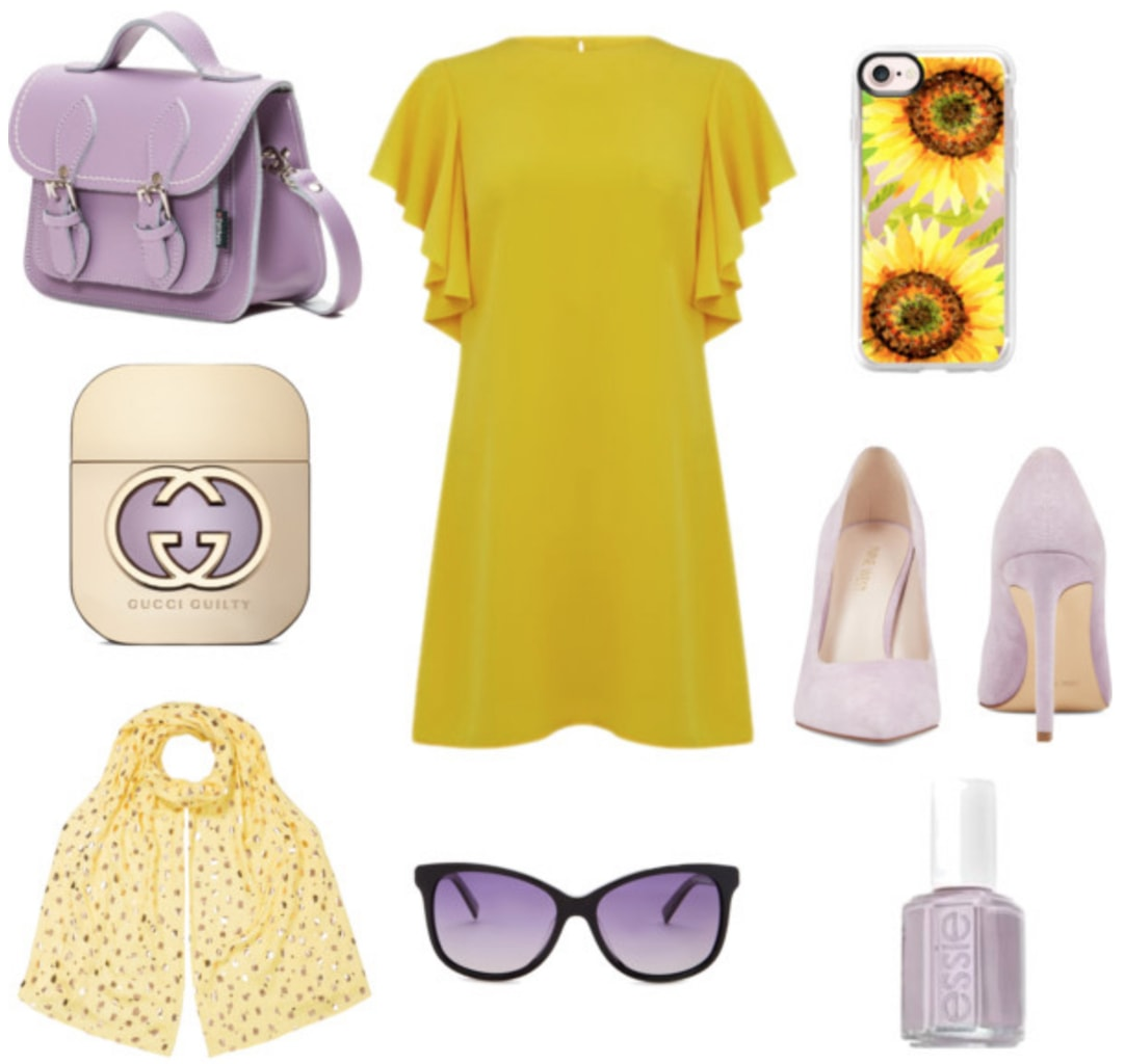 How to wear yellow: Outfit with yellow flutter sleeve dress, lavender pumps, lavender satchel bag, yellow patterned scarf, purple sunglasses, sunflower iPhone case, pastel lavender nail polish