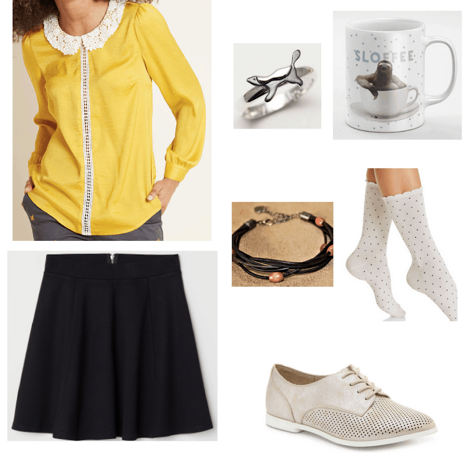 Hufflepuff outfit with yellow lace collar blouse, honeybadger ring, sloth coffee cup, polka dot socks, black mini skirt, oxfords, and a black string bracelet