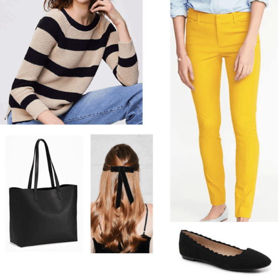 Hufflepuff outfit with yellow pants, tan and black striped sweater, hair bow, black tote bag, and black scalloped flats
