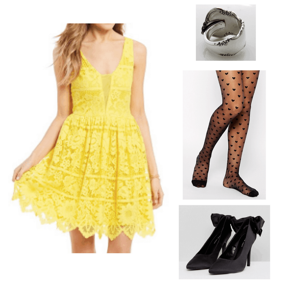 Formal hufflepuff outfit with yellow lace dress, heart print tights, heels with bows and a spoon ring
