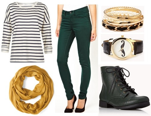 Hunter greeen jeans, stripe top, goldenrod scarf, combat boots