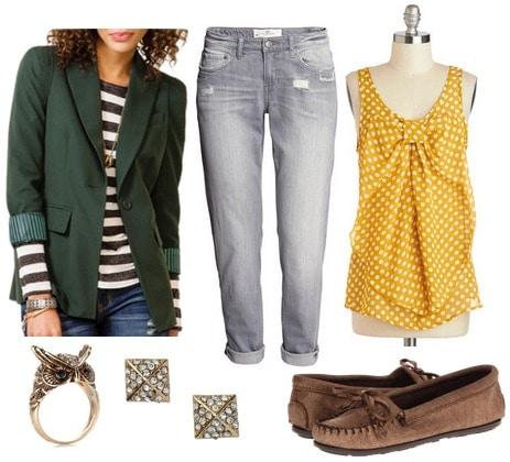 Hunter green blazer, goldenrod blouse, boyfriend jeans, mocs