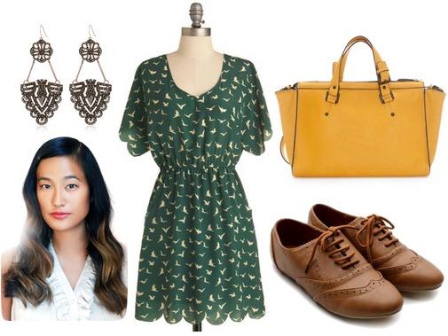 Hunter green dress, goldenrod bag, oxfords