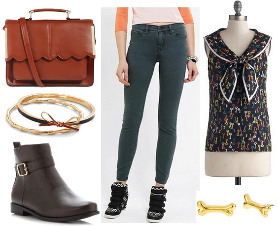 Hunter green jeans daytime outfit