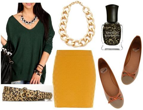 Hunter green sweater, goldenrod skirt, ballet flats