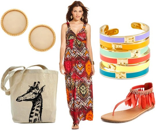 Ikat maxi dress styled for daytime with a tote bag, bright sandals, stacked bracelets and stud earrings