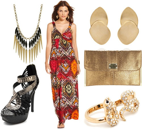 Ikat maxi dress styled for a night out with platform sandals, a statement necklace, bold earrings and a gold clutch