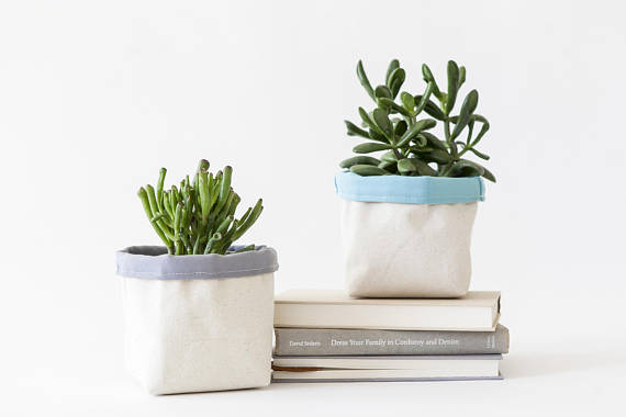 Cotton canvas planters from Etsy
