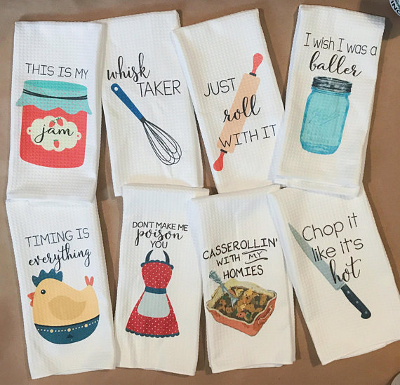 Punny dish towels - best gift ideas