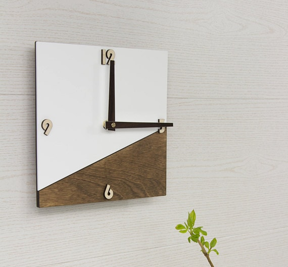 brown and white clock Etsy