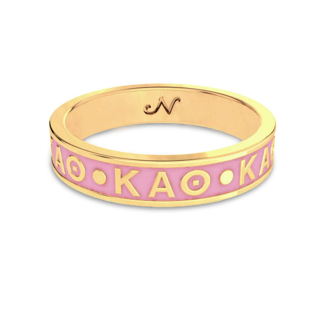 KAO sorority bracelet in pink and gold