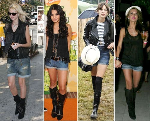 Celebs wearing denim shorts and boots