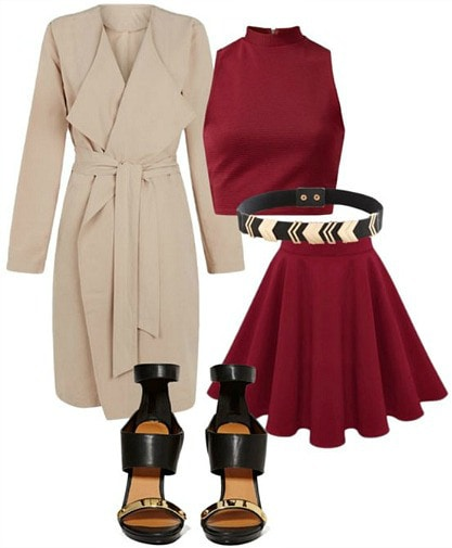 "Outfit inspired by ""Gold"" from Imagine Dragons - red crop top and skirt, beige trench, black heels"