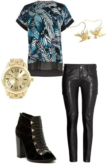 "Outfit inspired by ""Shots"" by Imagine Dragons - leather pants, palm print top, peep toe booties, gold jewelry"