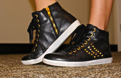 Black-Studded-Tennis-Shoes-Gold-White