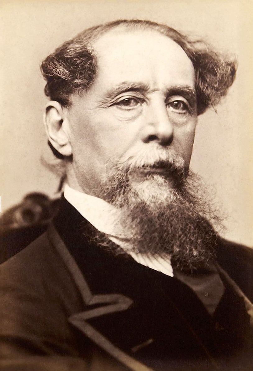 Black and white photo of Charles Dickens as an older man