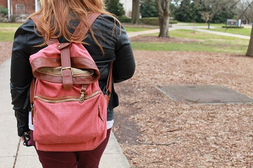 College campus fashion trend - canvas backpack