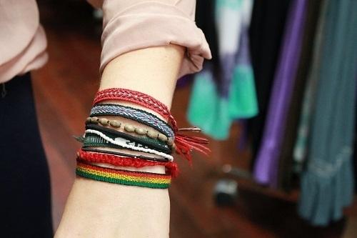 stacked bracelets north carolina state university street style