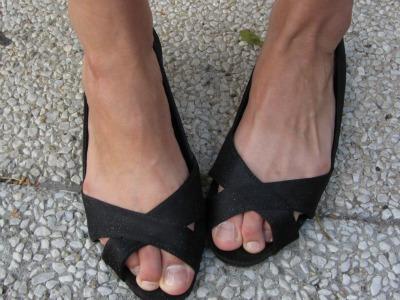 Classic black peep-toe flats